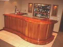 Cherry bar with curved slab top