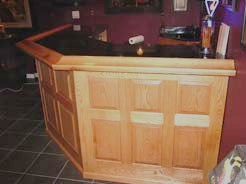 Red oak bar, black granite top