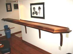 Walnut bar, curved laminated supports