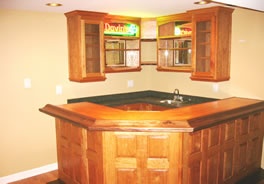Cherry bar and back cabinets