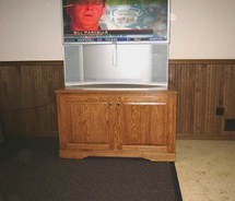 "Red oak rolling stand for 60"" TV"