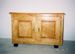 Rolling cherry cabinet