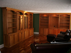 Cherry bookcase units with gun cabinet