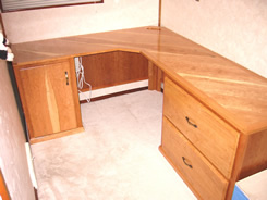 L-shaped cherry desk unit