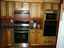 Hickory cabinets with flat panel doors