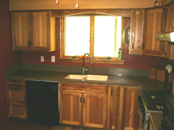 Arched valence above sink