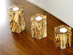 Spalted maple candle holders